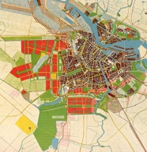 The General Expansion Plan. The red areas are the Westelijke Tuinsteden en Buitenveldert.