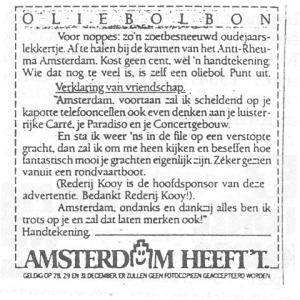Receipt for a free oliebol, on condition of signing a declaration of pride in Amsterdam.