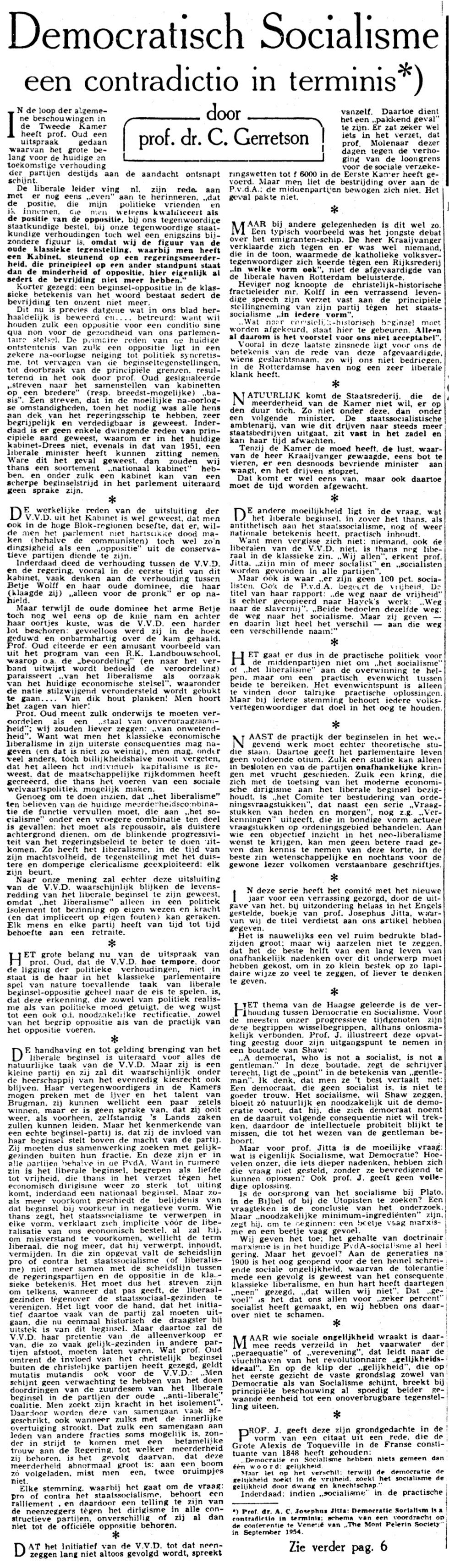 MPS lezing Telegraaf 15-01-1955